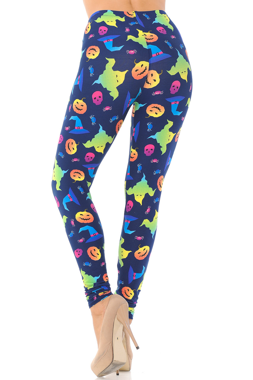 Rear view image of Buttery Soft Ghostbusters Ghosts Halloween Leggings