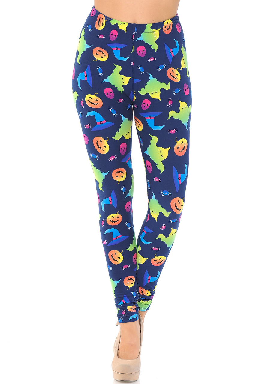 Front view image of Buttery Soft Ghostbusters Ghosts Halloween Leggings