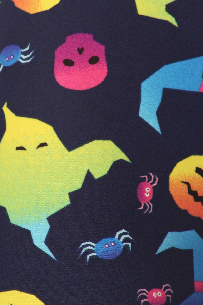 Close up fabric swatch of Buttery Soft Ghostbusters Ghost Halloween Leggings