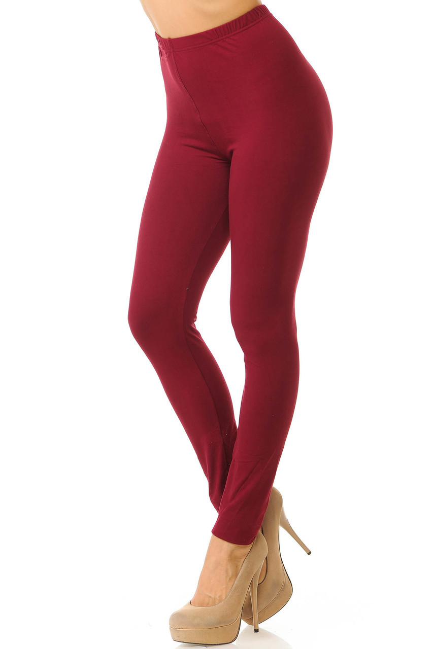 Partial front/left side view image of Burgundy Buttery Soft Basic Solid Leggings - New Mix