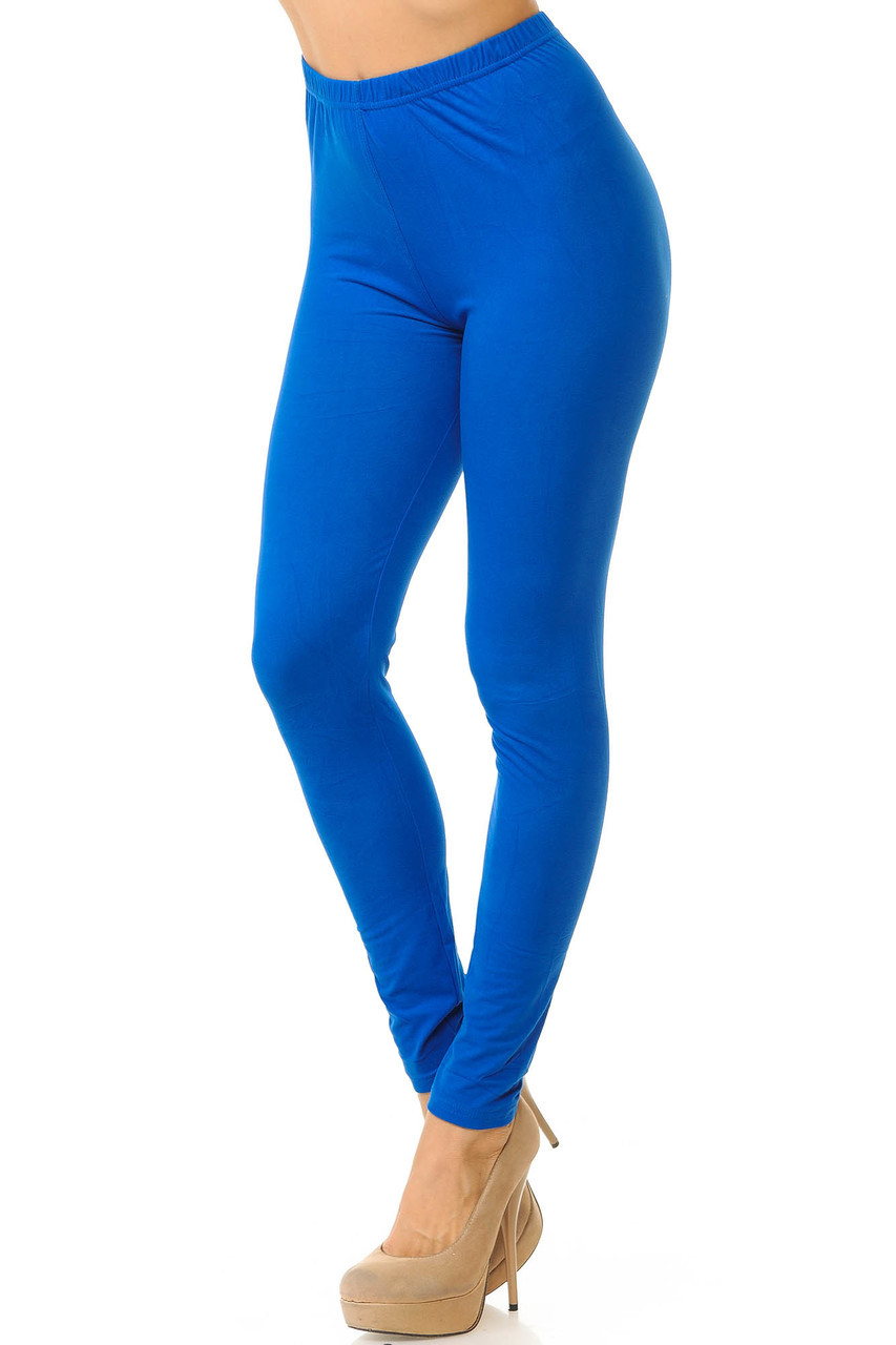 Partial front/left side view image of Royal Blue Buttery Soft Basic Solid Leggings - New Mix