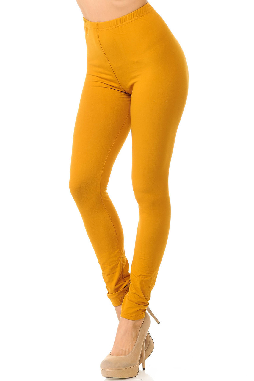 Partial front/left side view image of Mustard Buttery Soft Basic Solid Leggings - New Mix