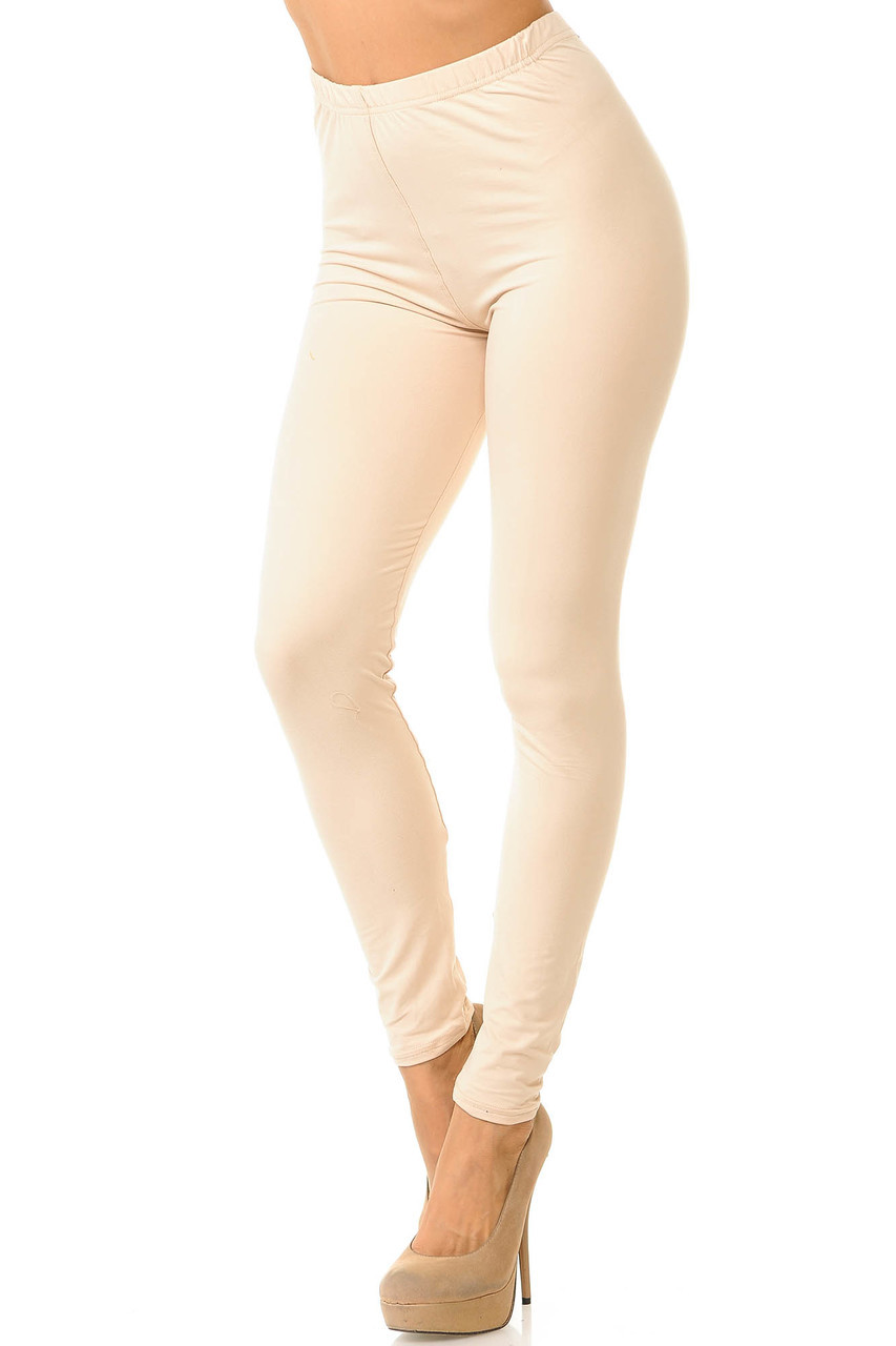 Partial front/left side view image of Beige Buttery Soft Basic Solid Leggings - New Mix
