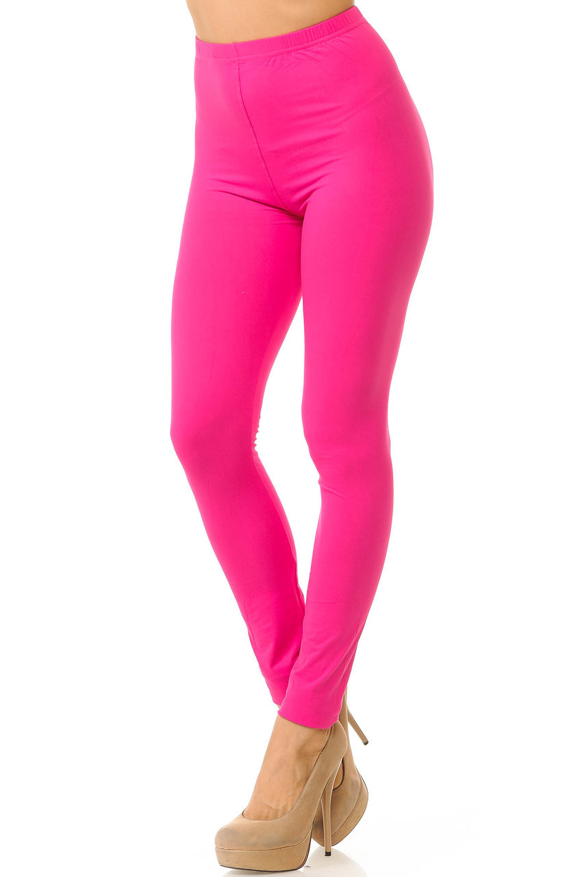 Partial front/left side view image of Fuchsia Buttery Soft Basic Solid Leggings - New Mix