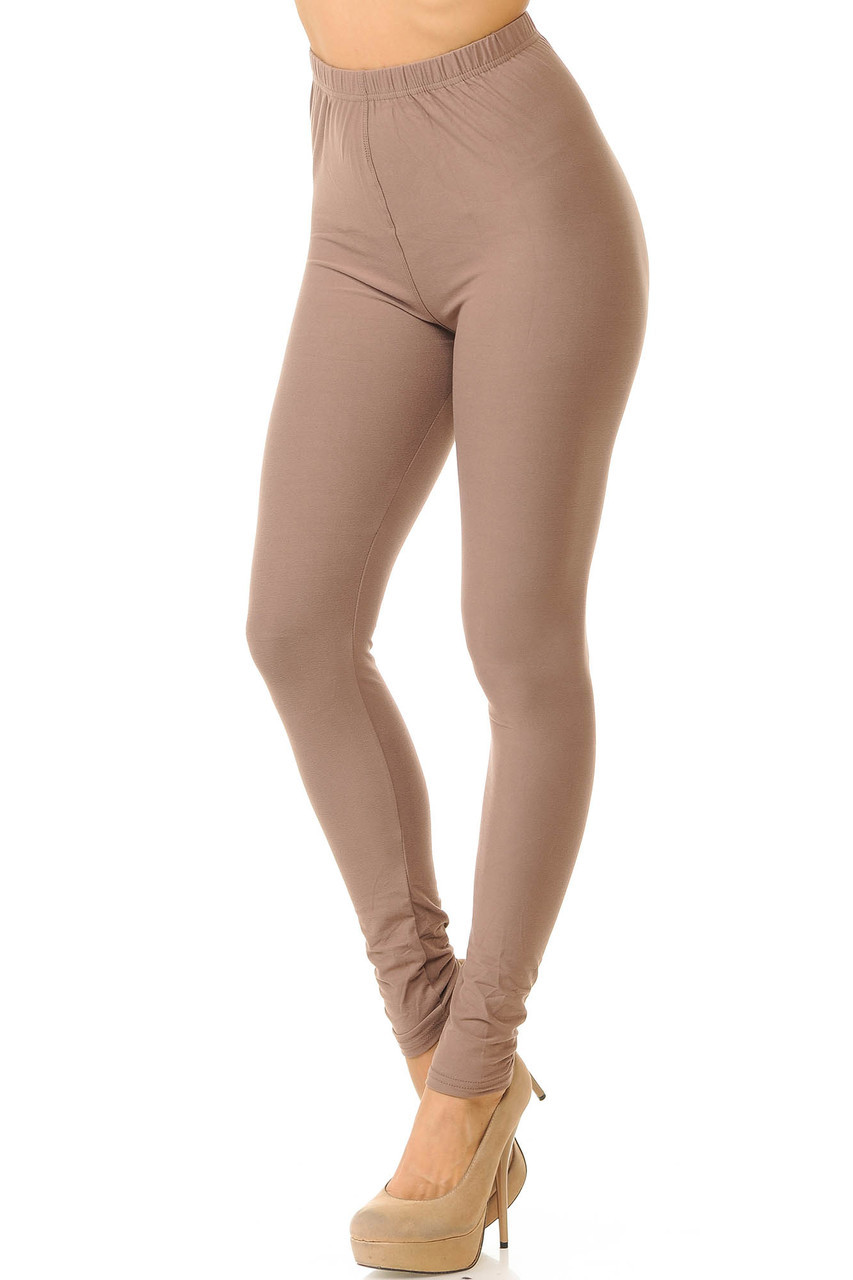 Partial front/left side view image of Mocha Buttery Soft Basic Solid Leggings - New Mix