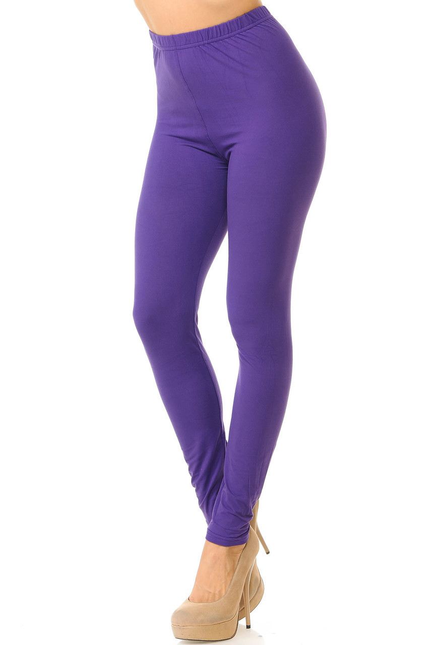 Partial front/left side view image of Purple Buttery Soft Basic Solid Leggings - New Mix