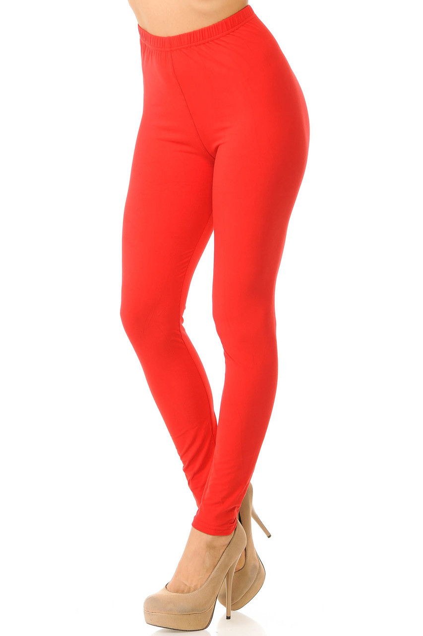 Partial front/left side view image of Red Buttery Soft Basic Solid Leggings - New Mix