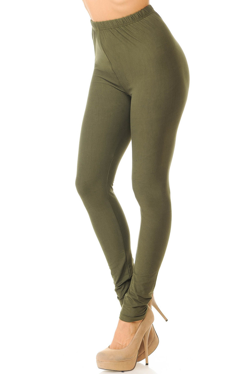Partial front/left side view image of Olive Buttery Soft Basic Solid Leggings - New Mix