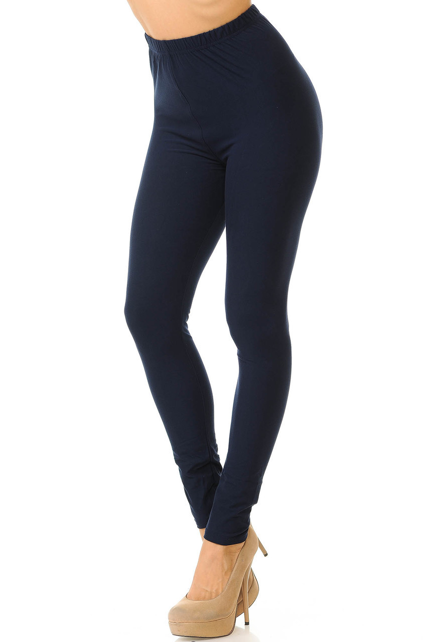 Partial front/left side view image of Navy Buttery Soft Basic Solid Leggings - New Mix