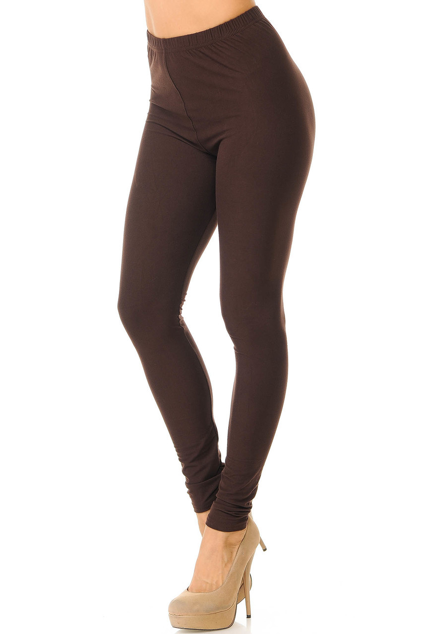 Partial front/left side view image of Brown Buttery Soft Basic Solid Leggings - New Mix