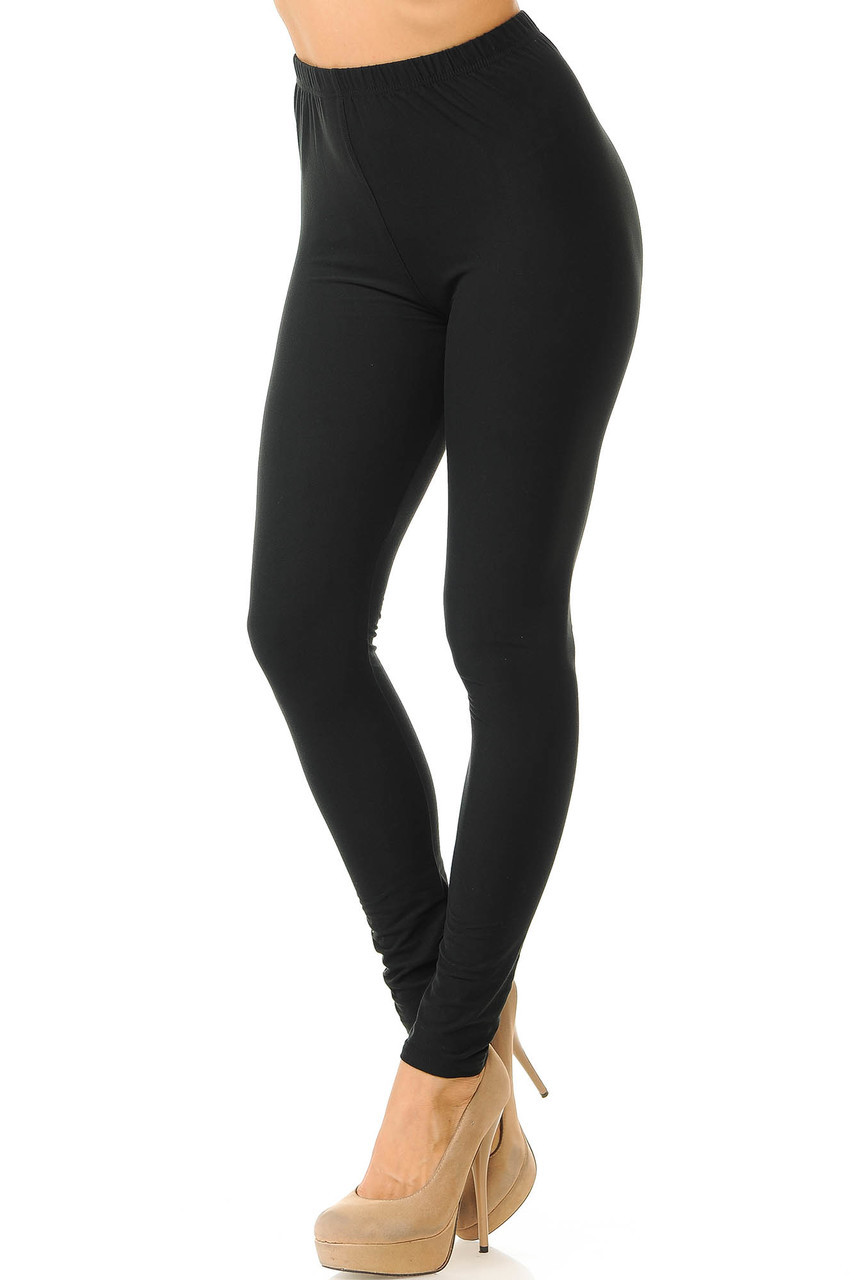 Partial front/left side view image of Black Buttery Soft Basic Solid Leggings - New Mix
