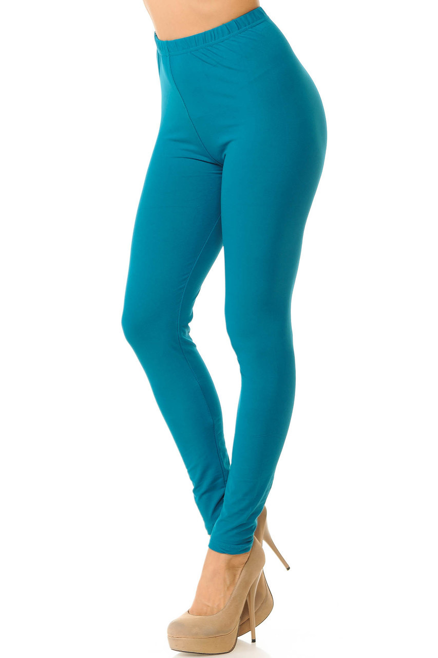 Partial front/left side view image of Teal Buttery Soft Basic Solid Leggings - New Mix