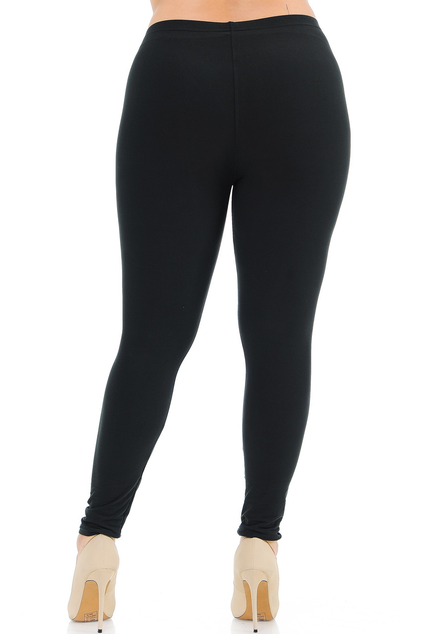 Back view image of Black Back Buttery Soft Basic Solid Plus Size Leggings - New Mix