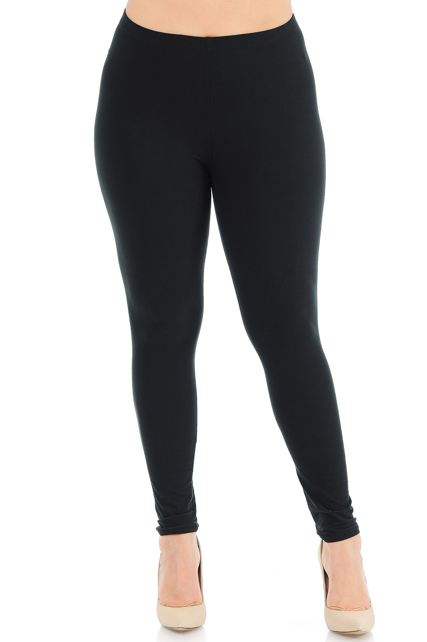 Front view image of Black Front Buttery Soft Basic Solid Plus Size Leggings - New Mix