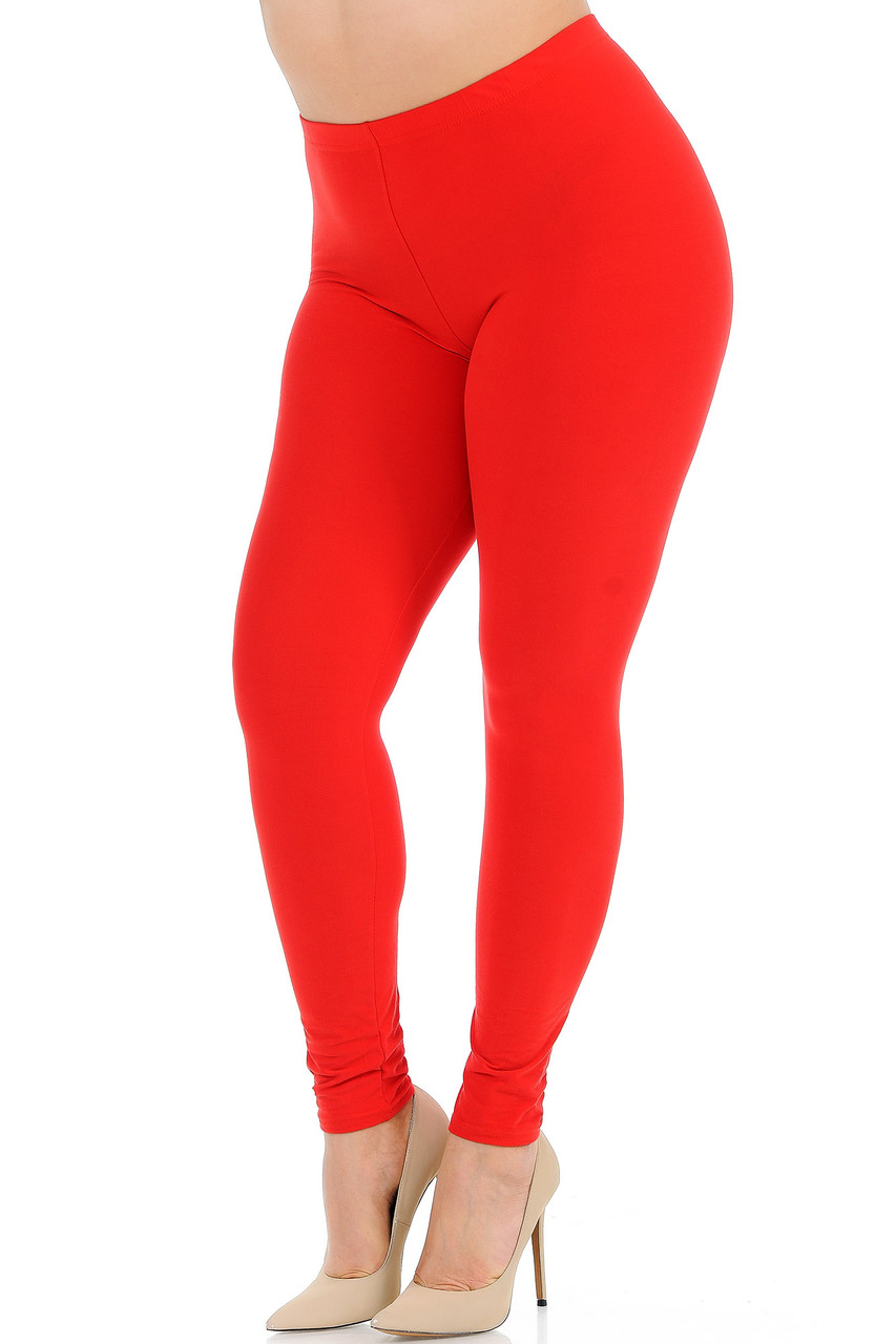 Angled front view image of Red Buttery Soft Basic Solid Plus Size Leggings - New Mix