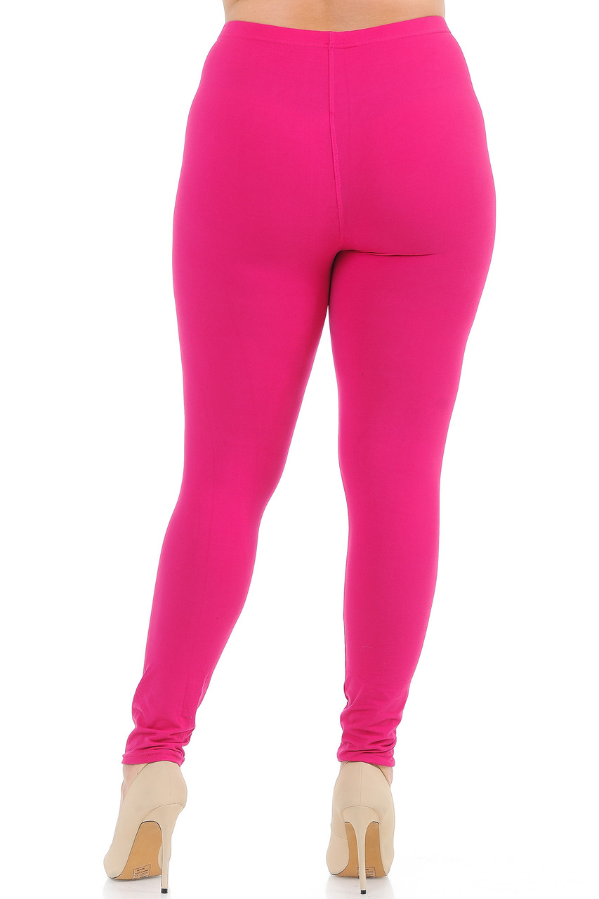 Back view image of Fuchsia Back Buttery Soft Basic Solid Plus Size Leggings - New Mix