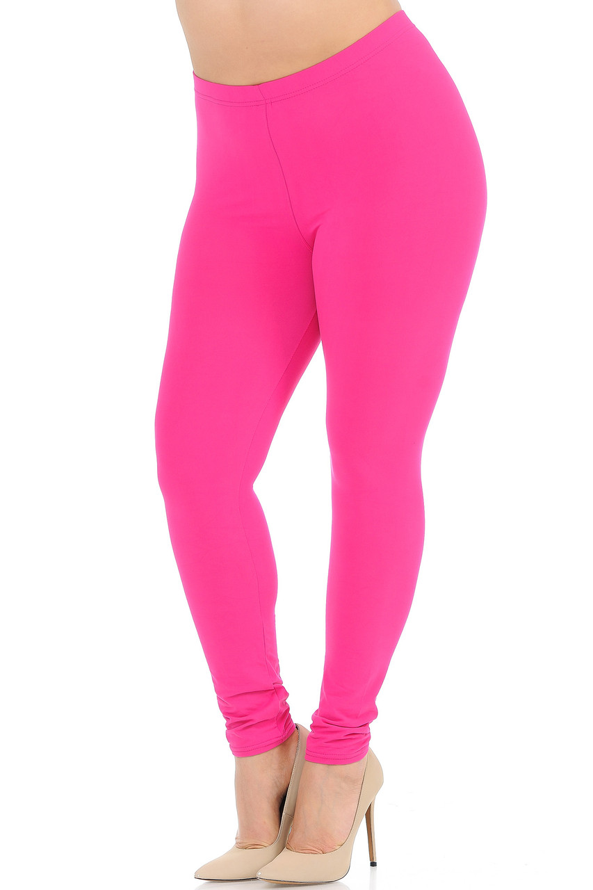 Angled front view image of Fuchsia Buttery Soft Basic Solid Plus Size Leggings - New Mix