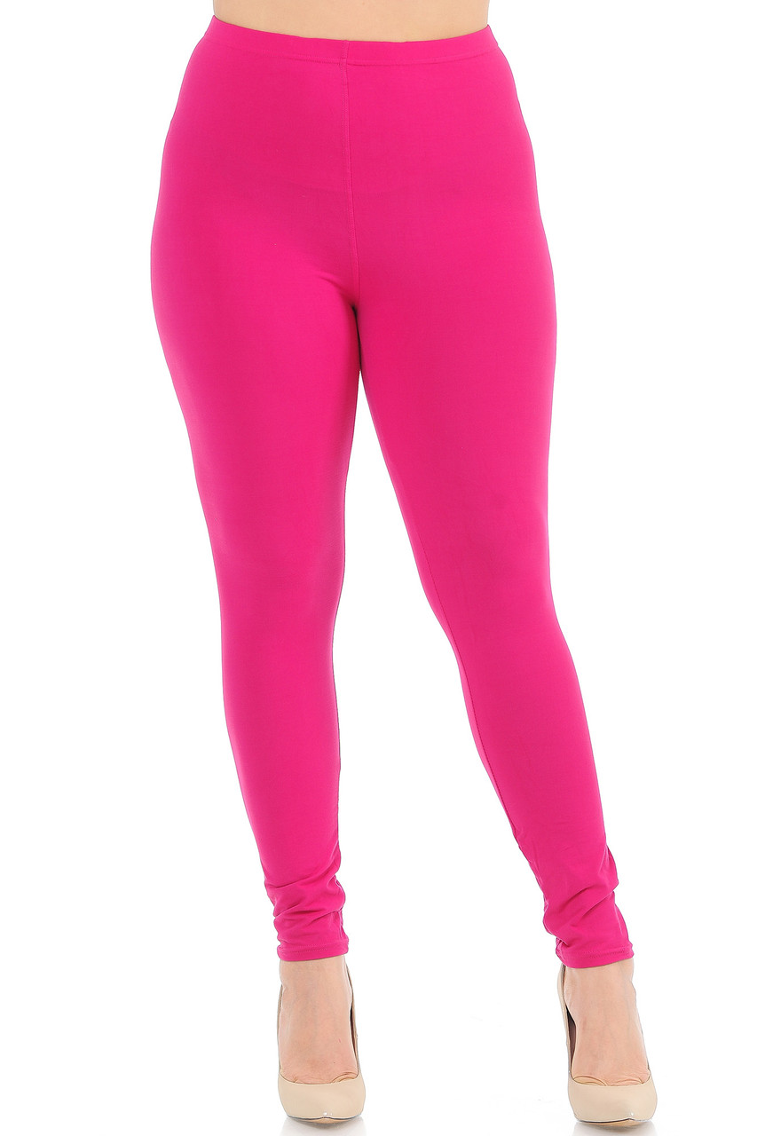 Front view image of Fuchsia Front Buttery Soft Basic Solid Plus Size Leggings - New Mix
