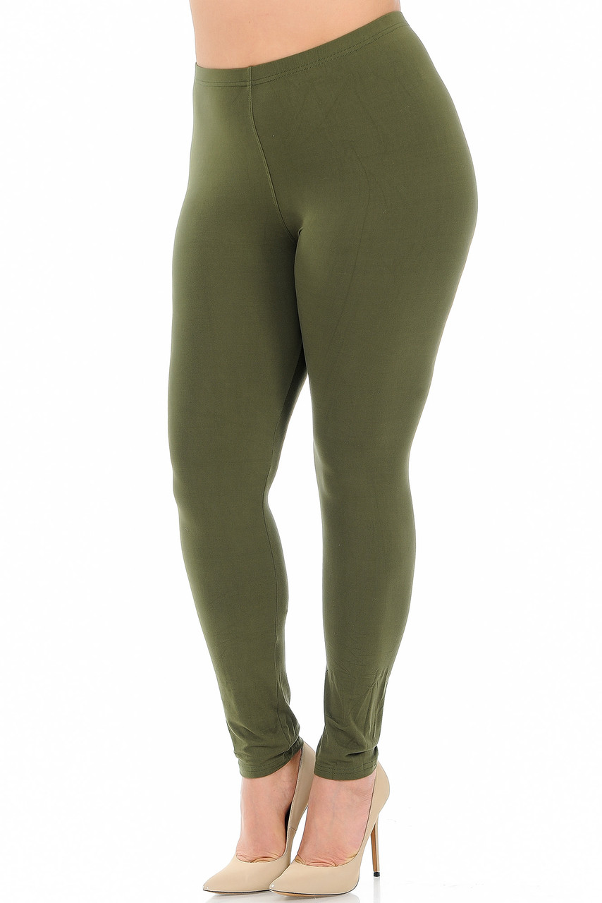 Angled front view image of Olive Buttery Soft Basic Solid Plus Size Leggings - New Mix