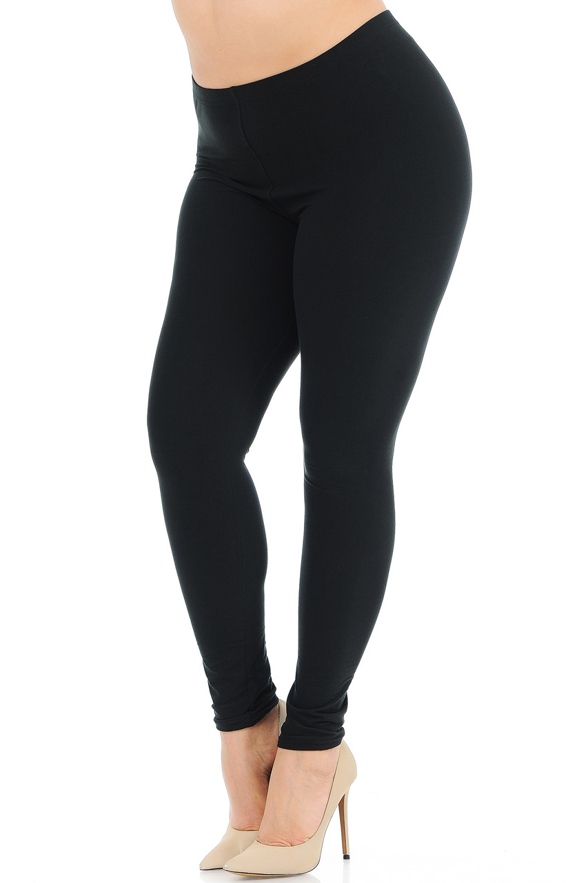 Angled front view image of Black Buttery Soft Basic Solid Plus Size Leggings - New Mix