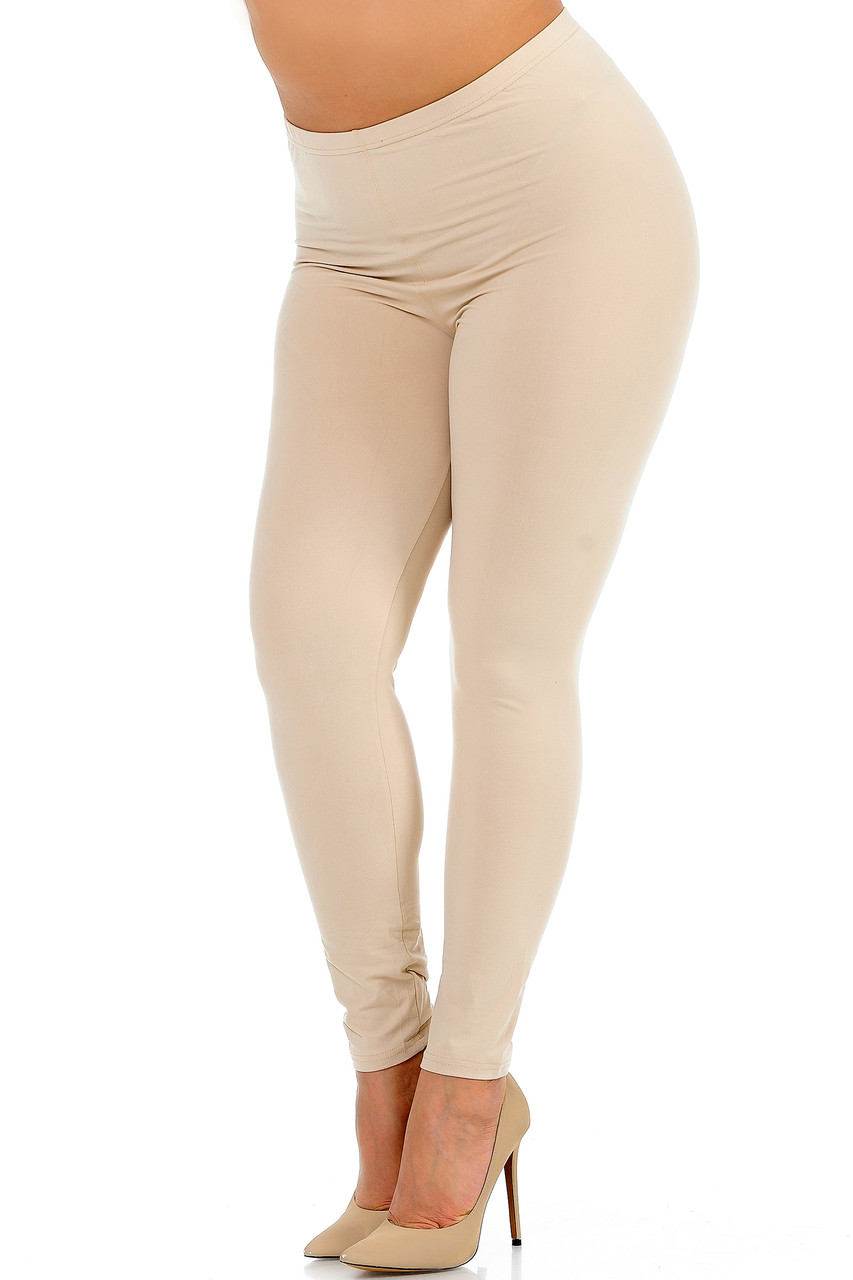 Angled front view image of Beige Buttery Soft Basic Solid Plus Size Leggings - New Mix