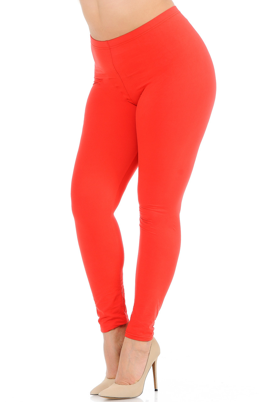 Angled front view image of Coral Buttery Soft Basic Solid Plus Size Leggings - New Mix