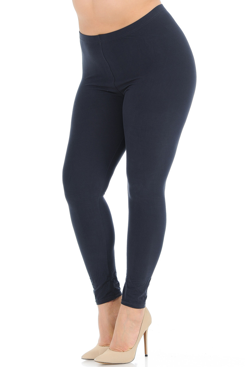 Angled front view image of Charcoal  Buttery Soft Basic Solid Plus Size Leggings - New Mix