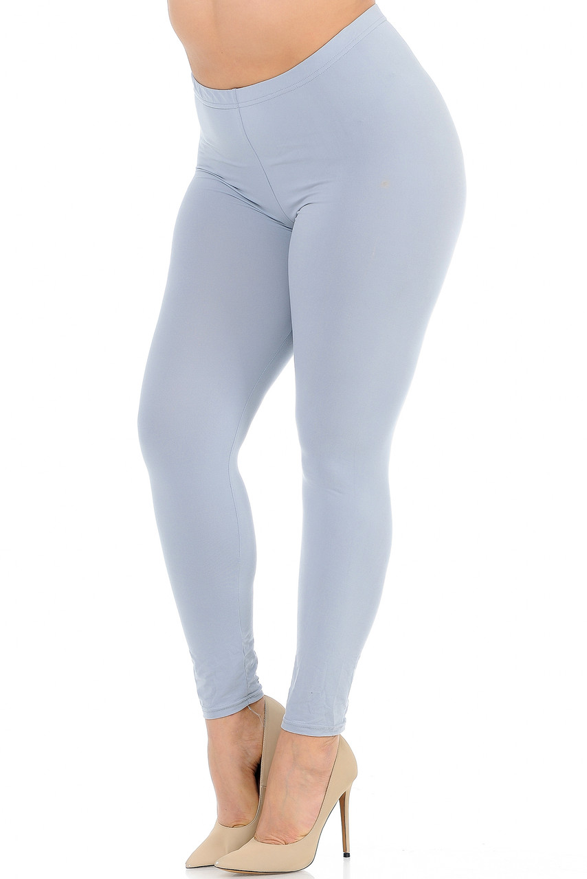 Angled front view image of Heather Grey Buttery Soft Basic Solid Plus Size Leggings - New Mix