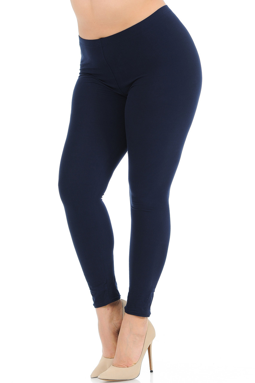Angled front view image of Navy Buttery Soft Basic Solid Plus Size Leggings - New Mix