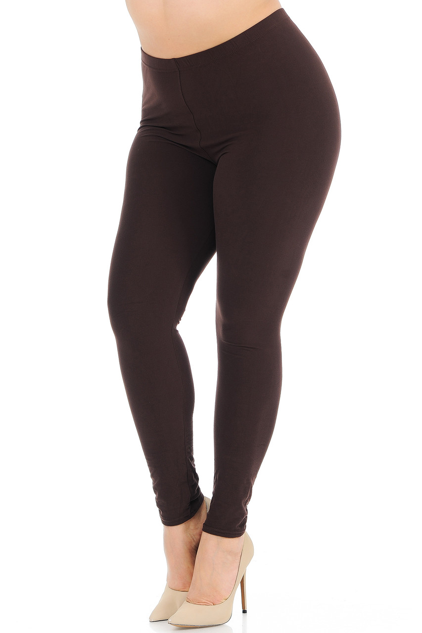 Angled front view image of Brown Buttery Soft Basic Solid Plus Size Leggings - New Mix