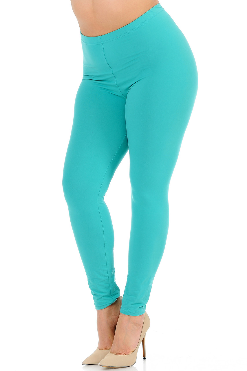 Angled front view image of Mint Buttery Soft Basic Solid Plus Size Leggings - New Mix