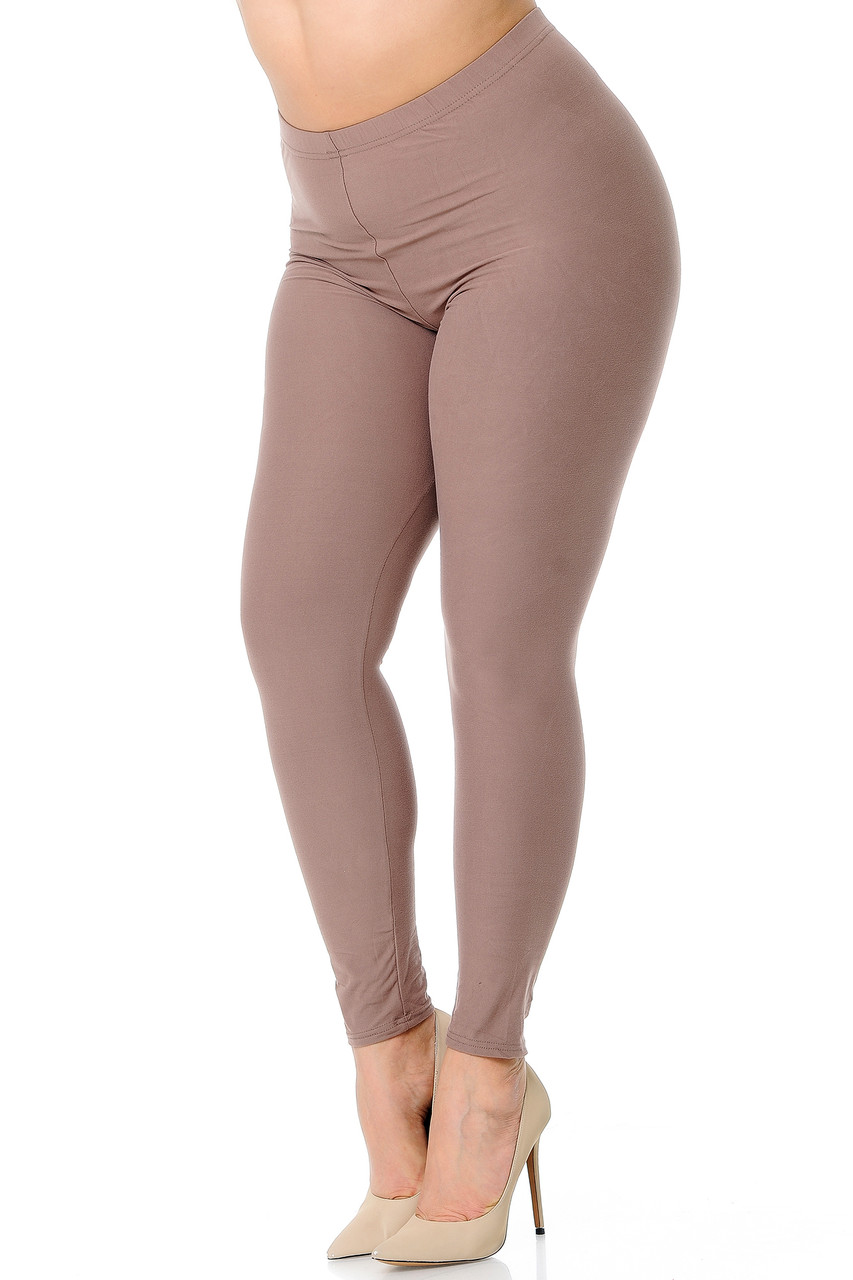Angled front view image of Mocha Buttery Soft Basic Solid Extra Plus Size Leggings - 3X-5X - New Mix