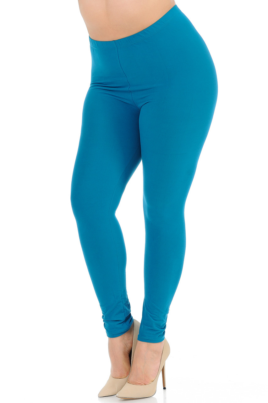 Angled front view image of Teal Buttery Soft Basic Solid Extra Plus Size Leggings - 3X-5X - New Mix