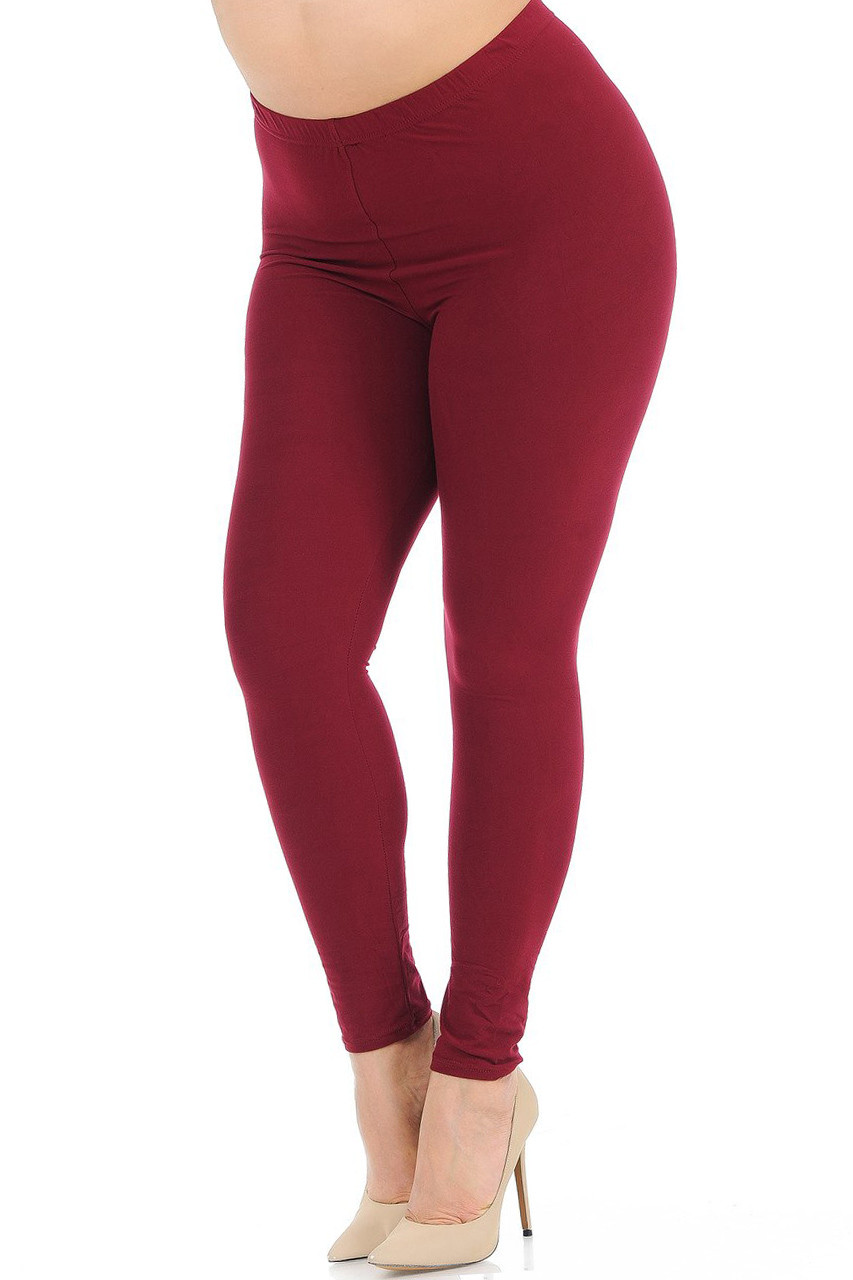 Angled front view image of Burgundy Buttery Soft Basic Solid Plus Size Leggings - New Mix