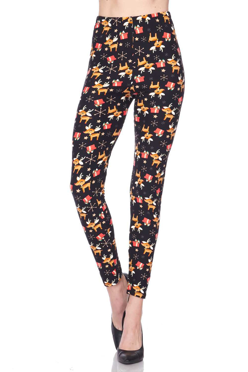 Front view image of our mid rise Buttery Soft Presents and Baby Reindeer Christmas Plus Size Leggings with a comfort stretch elastic waist.