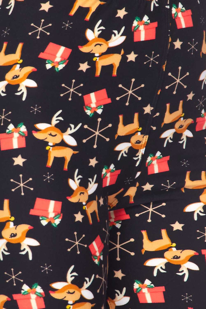 Close up fabric swatch image of Buttery Soft Presents and Baby Reindeer Christmas Plus Size Leggings