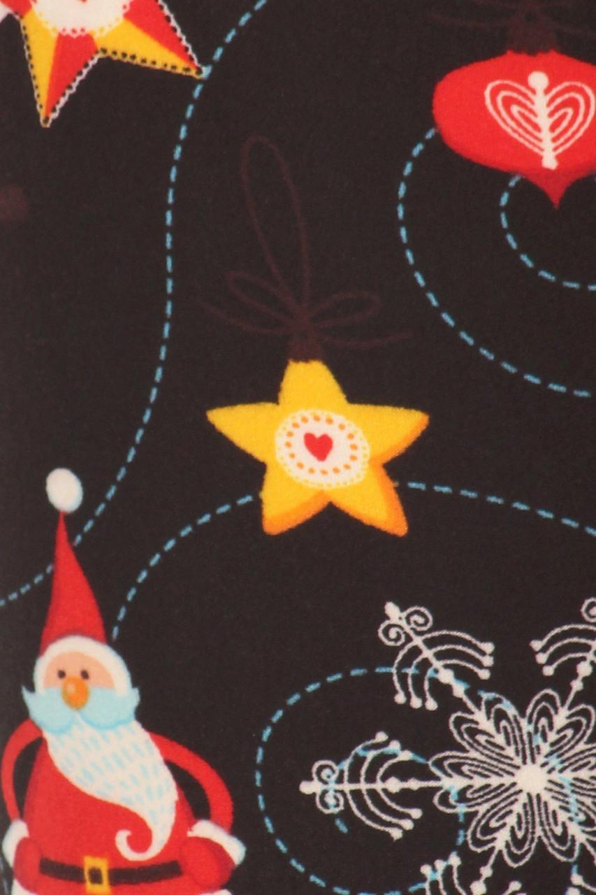 Close up image swatch of Buttery Soft Santa's Wonderland Christmas Leggings