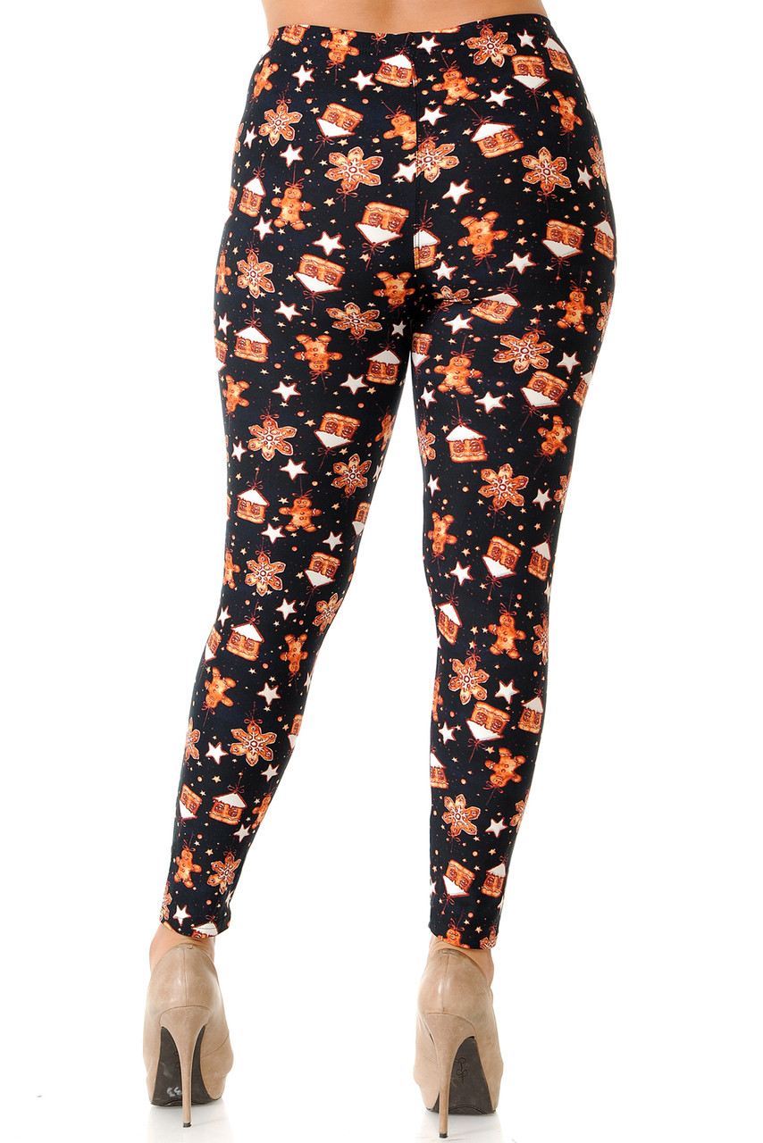 Rear view image of our flattering body hugging Buttery Soft Gingerbread Christmas Plus Size Leggings