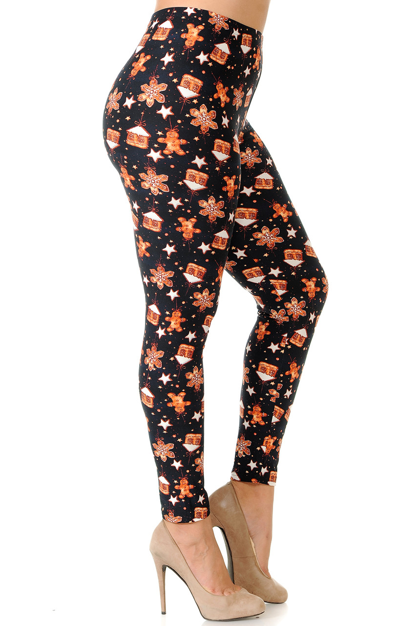 Right side view image of Buttery Soft Holiday Gingerbread Christmas Plus Size Leggings
