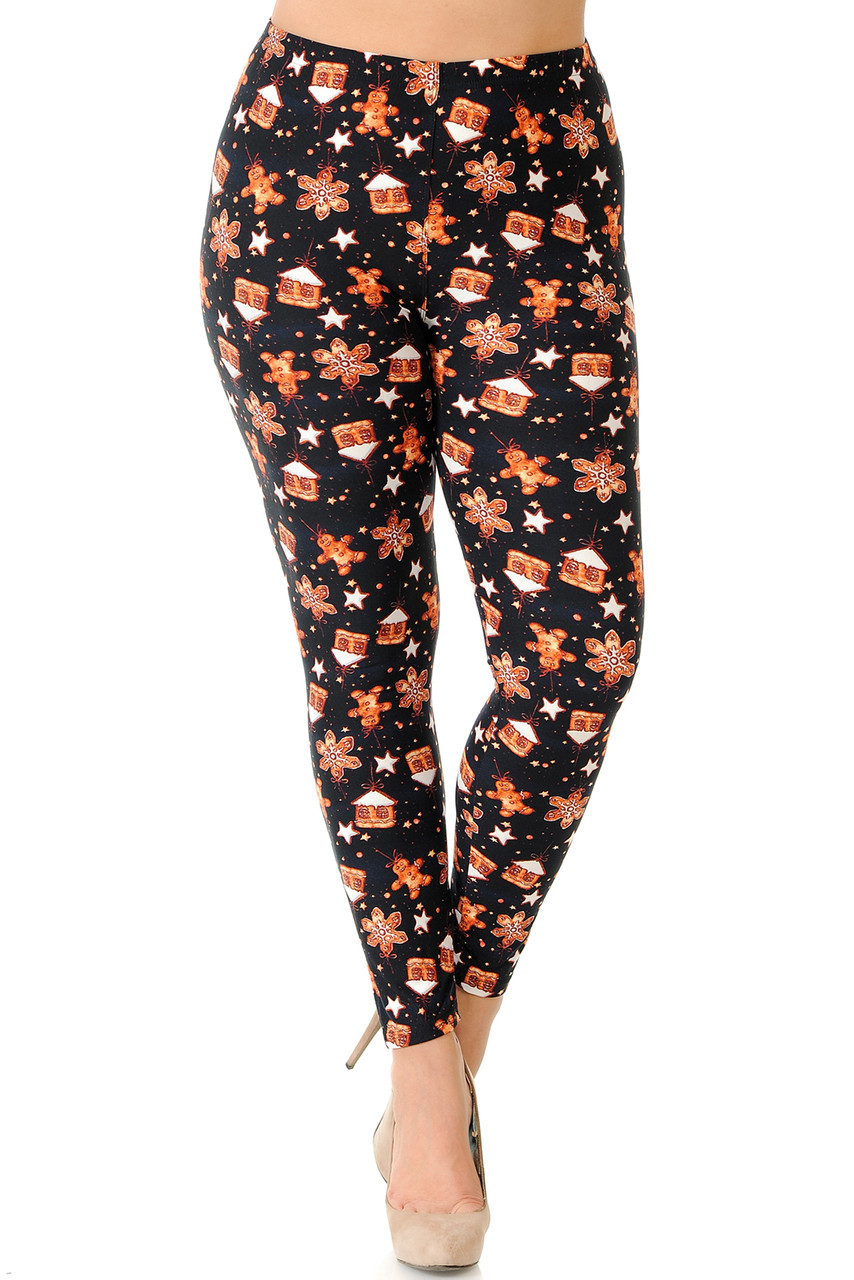 Front view of Buttery Soft Holiday Gingerbread Christmas Plus Size Leggings with a fabulous look for the holiday season.