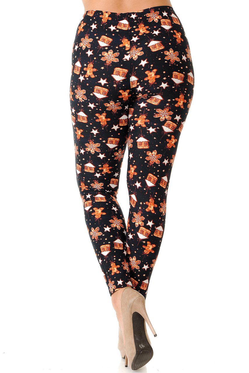 Back view image of Buttery Soft Holiday Gingerbread Christmas Plus Size Leggings