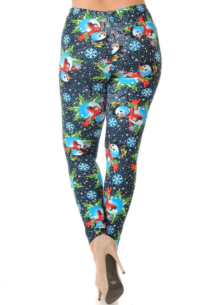 Back view image showcasing the flattering body hugging fit of our Buttery Soft Frosty Blue Snowman Christmas Extra Plus Size Leggings - 3X-5X