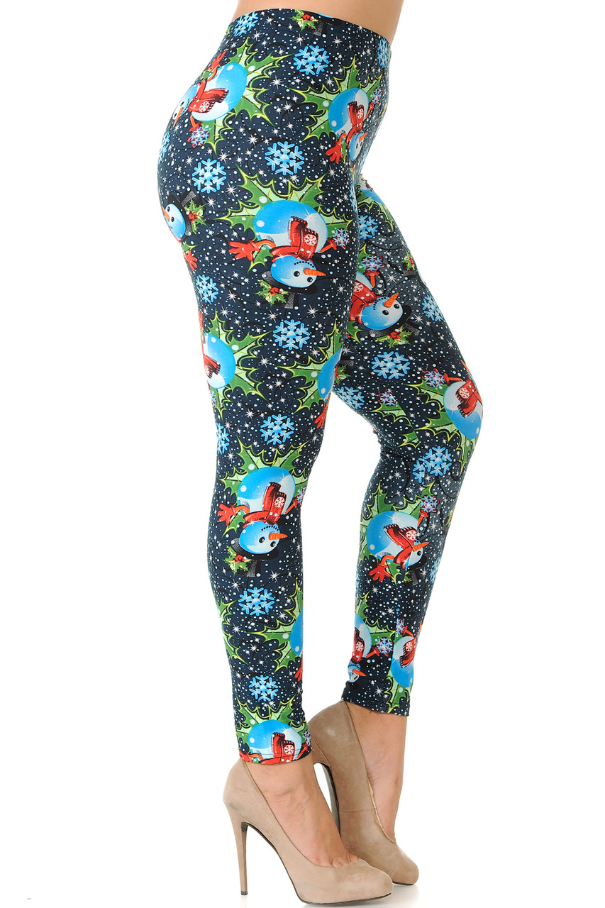 Right side view image of Buttery Soft Frosty Blue Snowman Christmas Extra Plus Size Leggings - 3X-5X