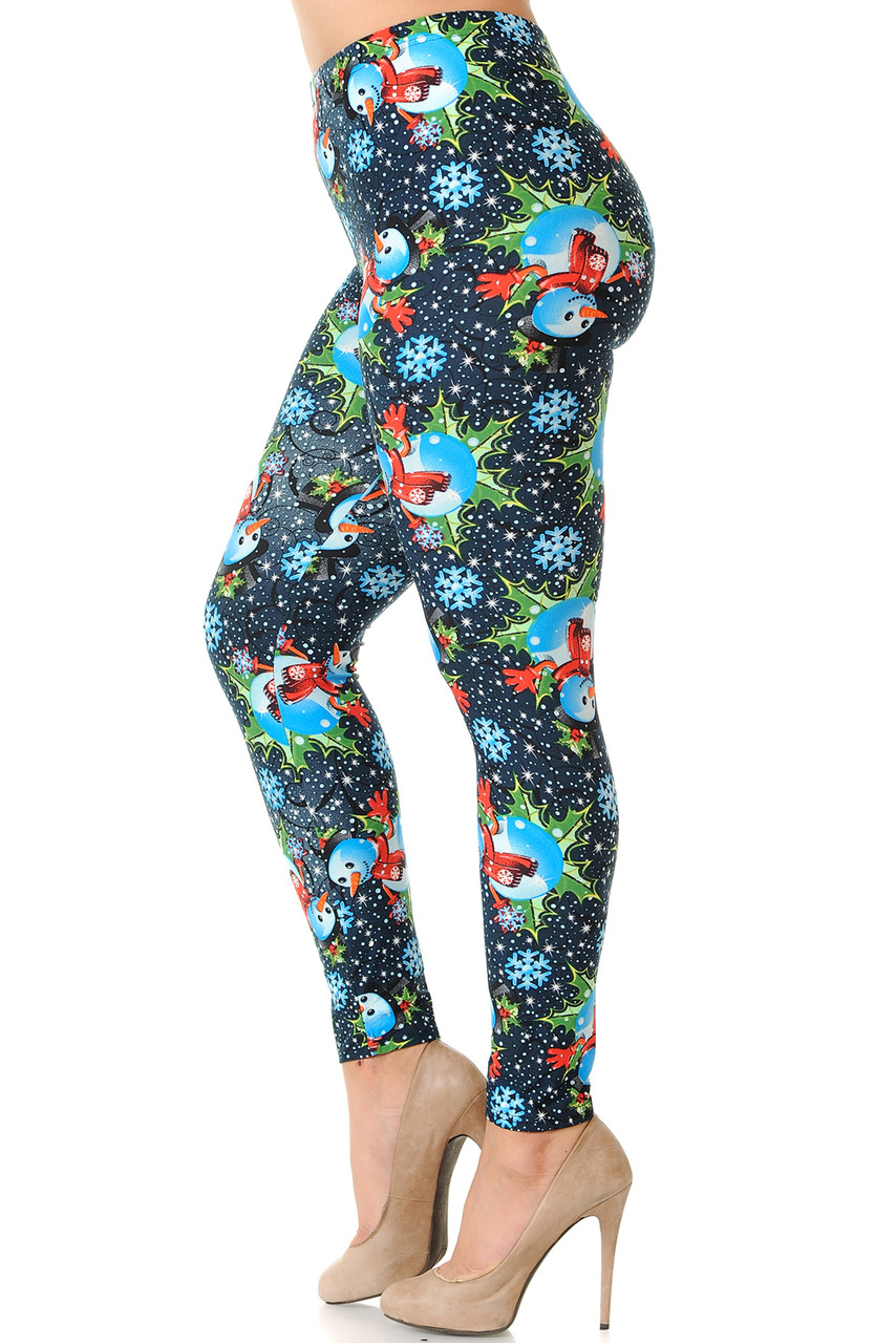 Left side view image of Buttery Soft Frosty Blue Snowman Christmas Extra Plus Size Leggings - 3X-5X