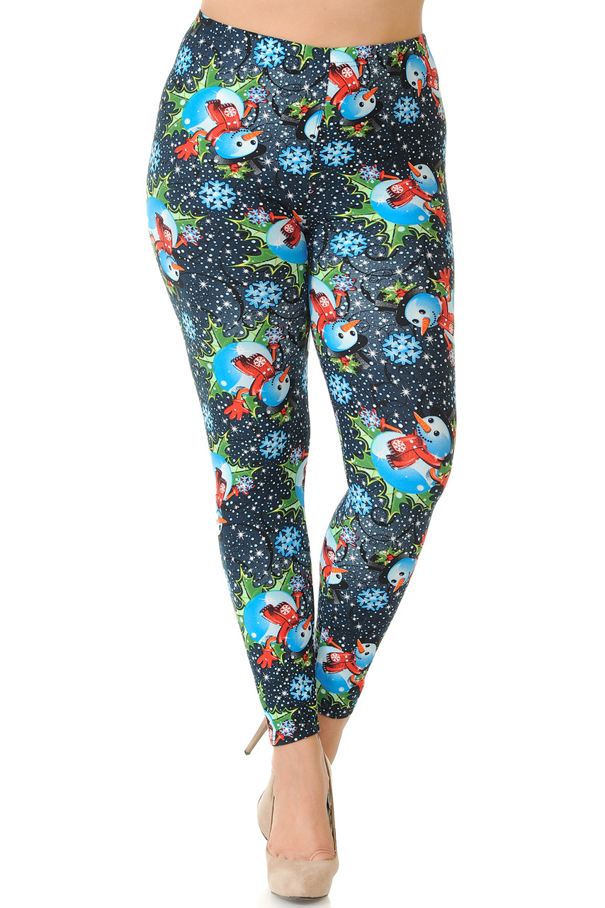 Front view of our mid rise Buttery Soft Frosty Blue Snowman Christmas Extra Plus Size Leggings featuring a comfort stretch elasticized waistband.
