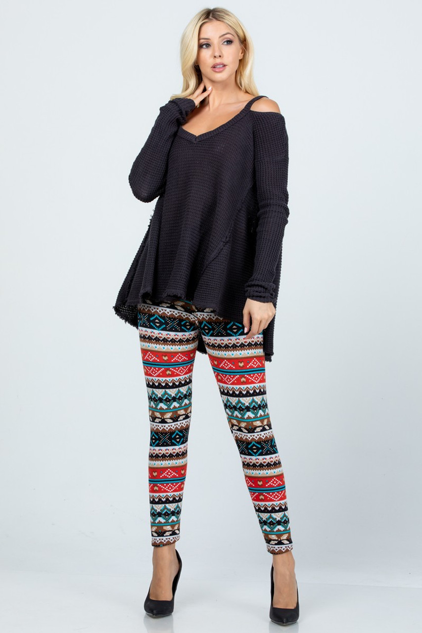 Modeled front view image of Winter Escapade Fur Lined Leggings showing these bottoms styled with a loose fit black long sleeve top.