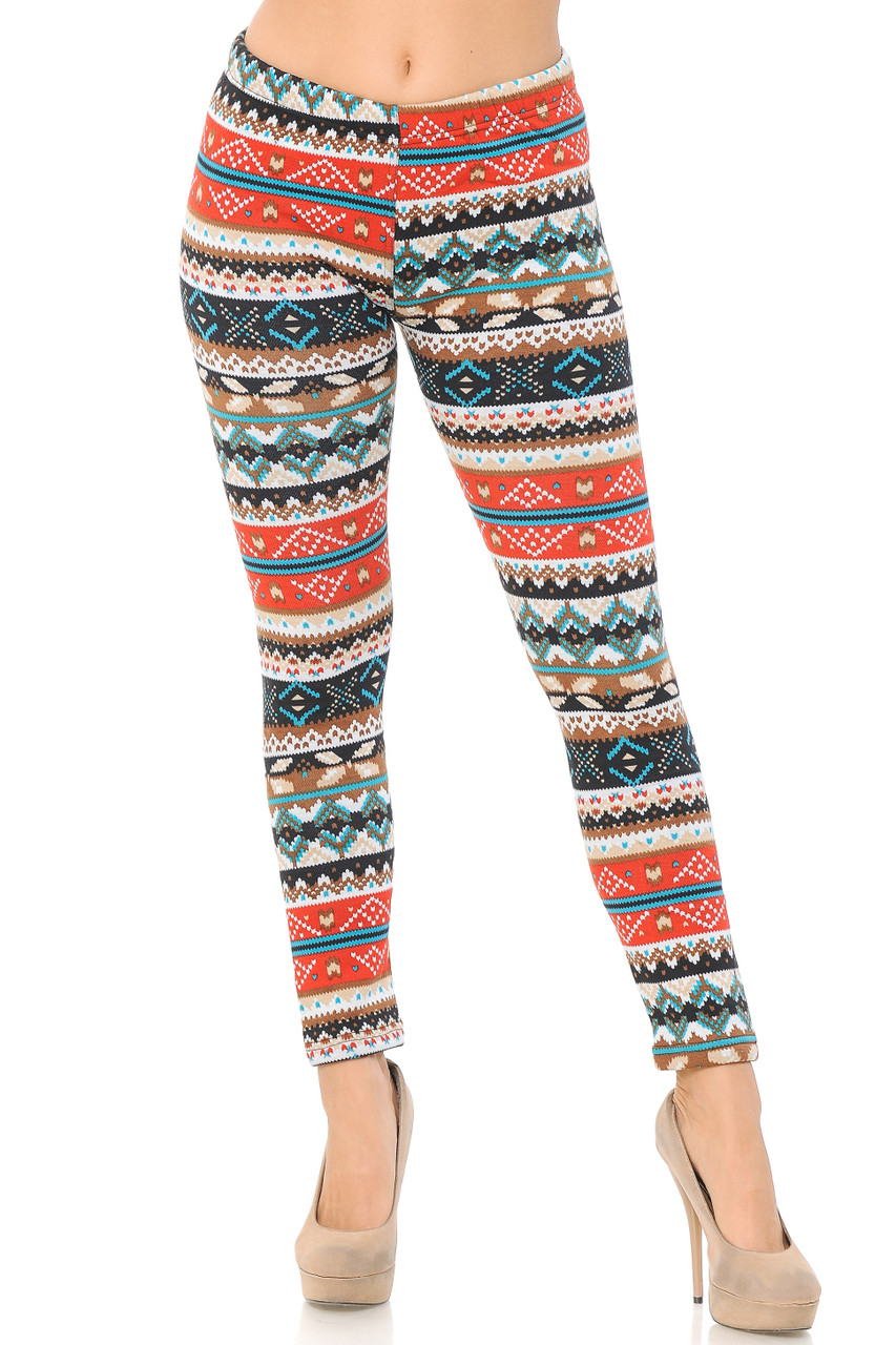 Front view image of our full length skinny leg Winter Escapade Fur Lined Leggings with a fabulous festive look for your holiday wardrobe.
