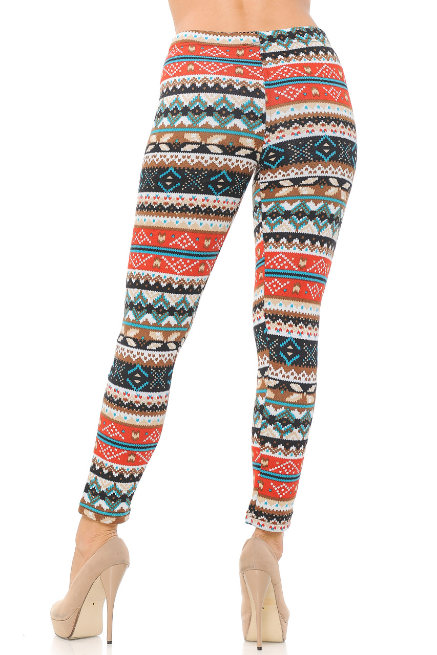 Back view image of Winter Escapade Fur Lined Leggings featuring a flattering body hugging fit.