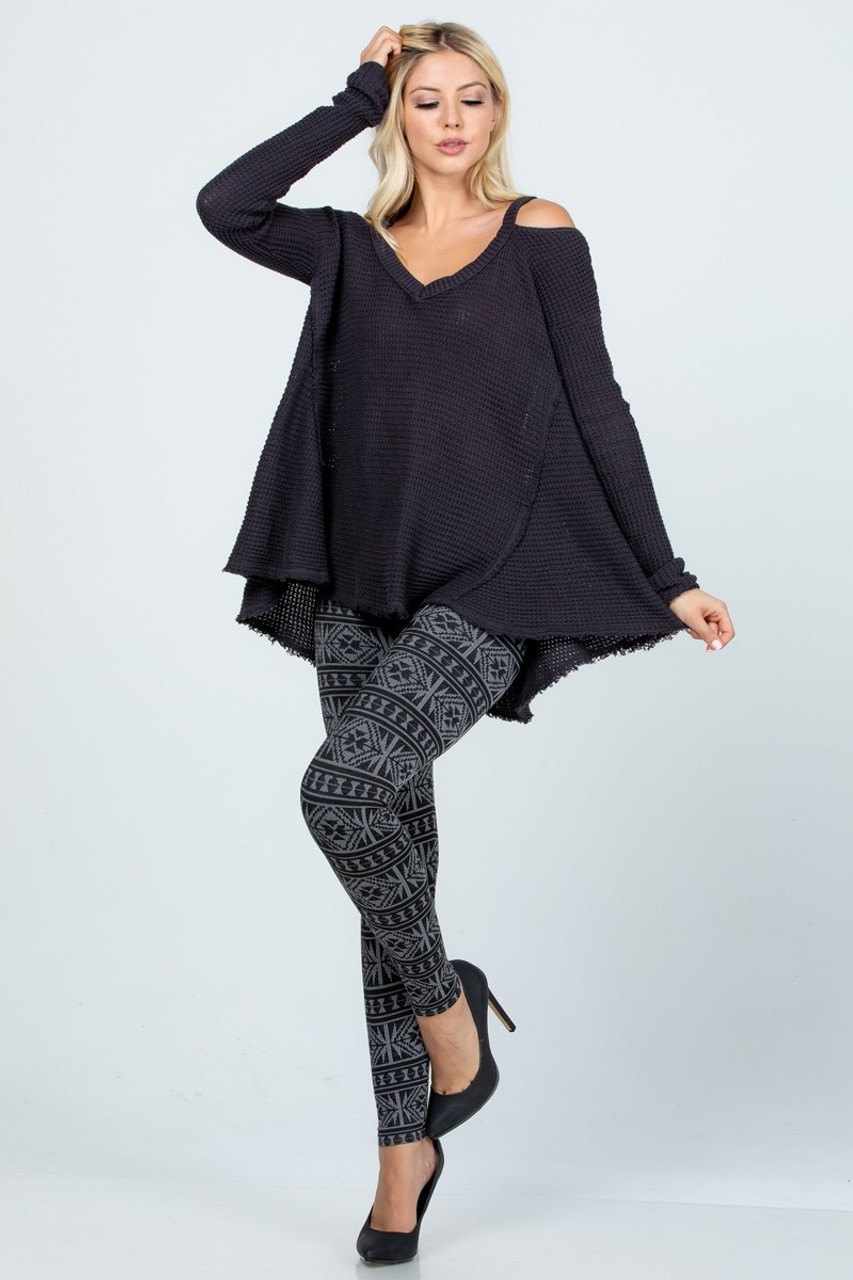 Modeled front view Left bend leg image of Charcoal Winter Snowflake Fleece Lined Leggings