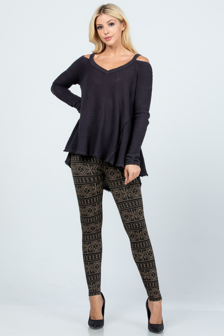 Modeled front view image of Beige Winter Snowflake Fleece Lined Leggings